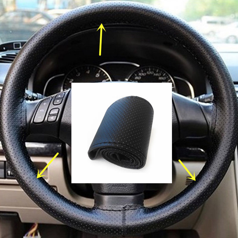 Gray /Black/Beiga DIY Car Steering Wheel Cover with Needles and Thread Artificial Leather Auto Steering Covers Car Styling(China (Mainland))