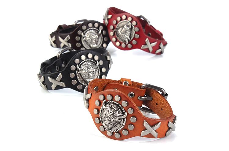 Fahion real bull head leather wristband bracelet men adjustable cuff braided charm bangle bracelet women brazalete de cuero free(China (Mainland))
