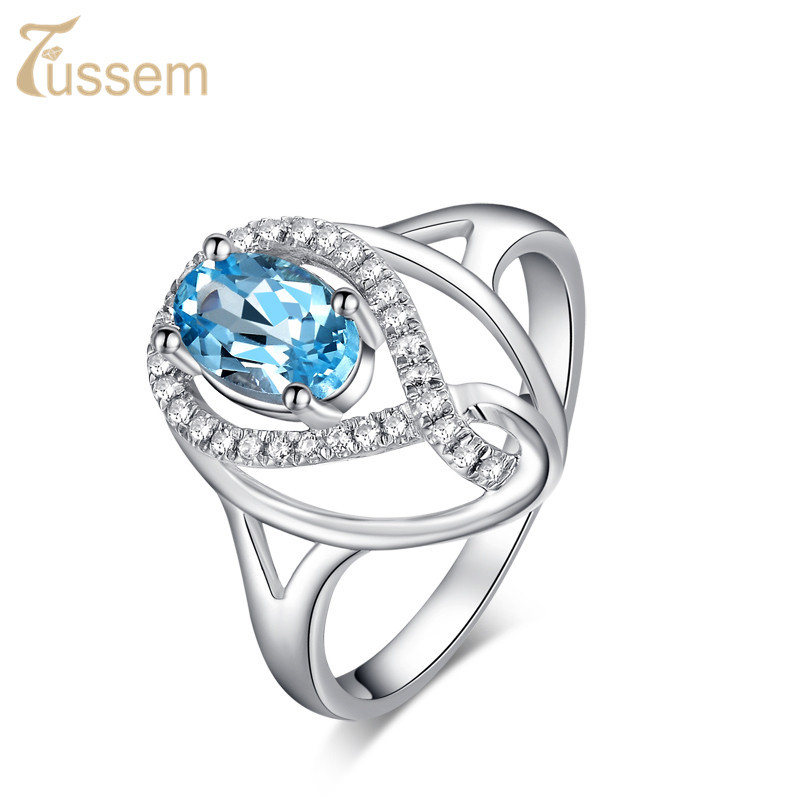 FUSSEM Handmade Natural White Topaz Blue Ring Sterling Silver Angel Teardrop FR2229400 - Fussem Fine Jewelry Shop For store