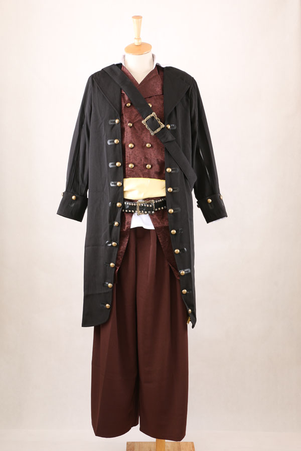 New Arrival Pirates of the Caribbean Barbossa Costume Coat Vest Pants Belts Cosplay Costume Halloween(China (Mainland))