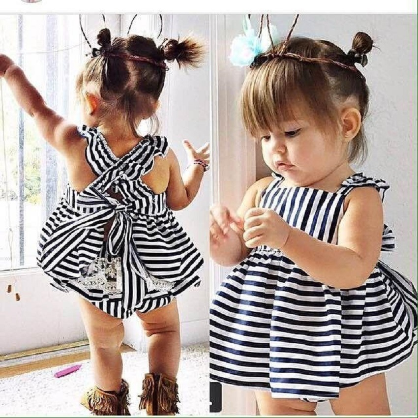 2016 summer Vestidos Baby Girl Dresses Princess Dress Stripe baby clothing Brand Girls Clothes Costumes - MJ store