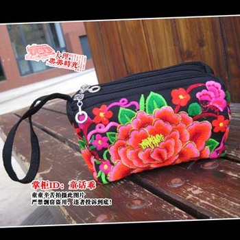 Exquisite embroidered change pocket clutch mobile phone bag embroidered purse flower