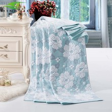 Ming jie New Fashion China cotton towel Blankets for beds Bath Peony 1pcs Bedspread Bedding set Quilt Sheet Sofa Travel wholesal(China (Mainland))