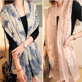 Scarf vintage blue white porcelain bali yarn beach towel sun silk scarf air conditioning cape dual - Nancy Girl Fashion Sets Mall store