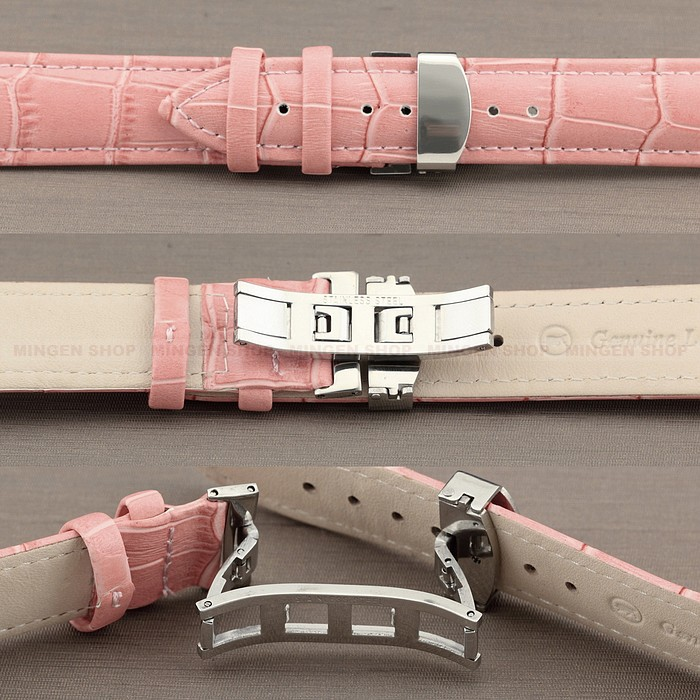 Young Durable Deployant 12/14/16/18/20/22/24mm Pink Genuine Leather Strap Steel Push-Button Hidden Clasp Unisex Watchband - Joyce's Time House store