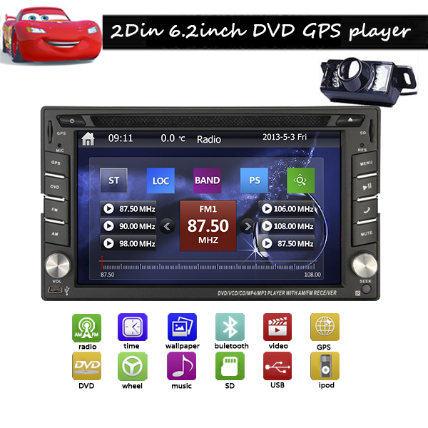 6.2 inch double 2Din Car DVD Player HD TouchScreen GPS Navigation Deck Car audio Radio Player Free Map built-in BT US Stock(China (Mainland))