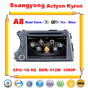 Car DVD GPS for Ssangyong Actyon Kyron with Radio TV A8 Dual Core 1GHz CPU 512M RAM 3G 1080P Support DVR V-20 Disc+Free shipping
