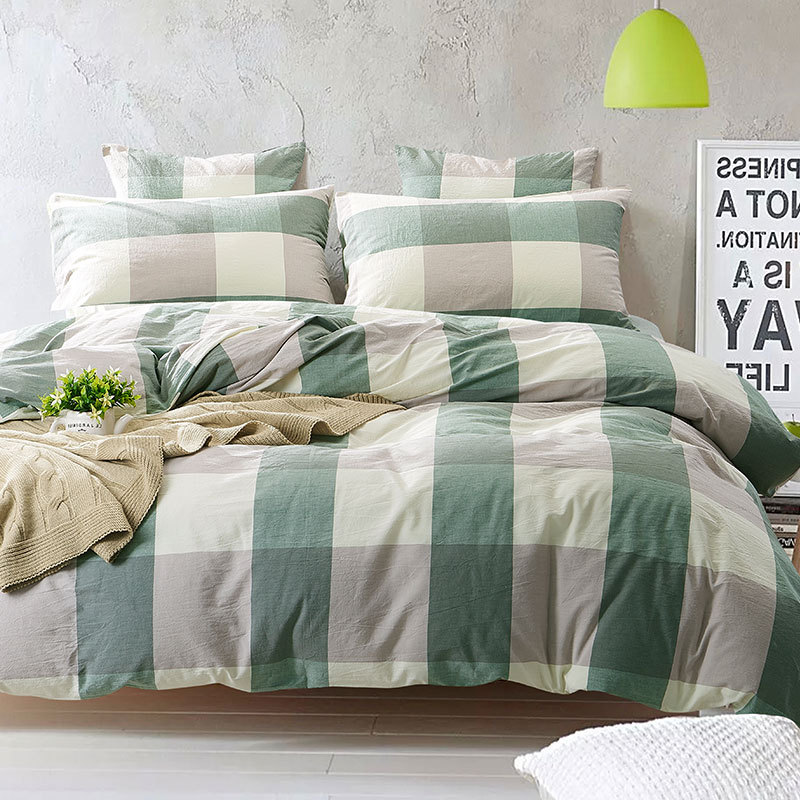 100 washed cotton bedding set bedcover sets plaid duvet cover sets bed sheets adults kids. Black Bedroom Furniture Sets. Home Design Ideas
