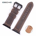 EACHE Genuine Leather Apple Watch Band Handmade Vintage crazy horse Watch Straps 42mm with siliver black
