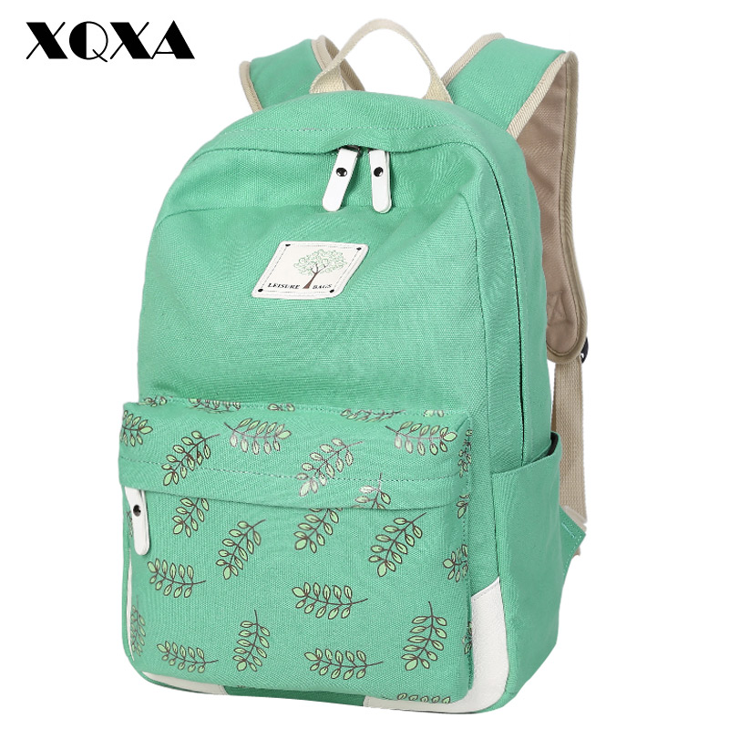 2016 Fashion Girl School Bags For Teenagers Cute Leaf Printing Canvas Women Backpack Mochila Escolar Casual Bag School Backpack(China (Mainland))