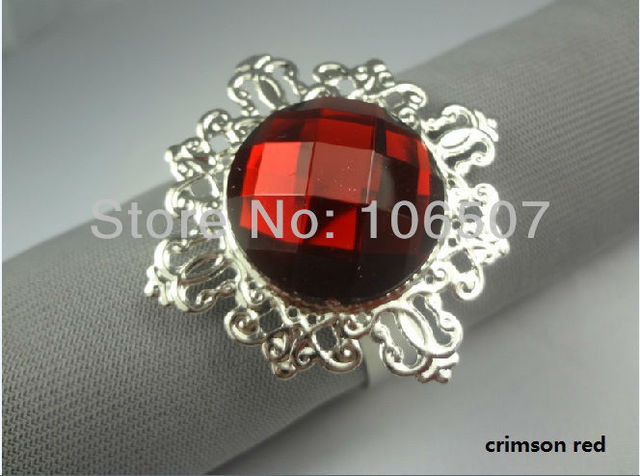 50 pcs CRIMSON RED Gem Napkin Rings Wedding Bridal Shower Favour-FREE SHIPPING