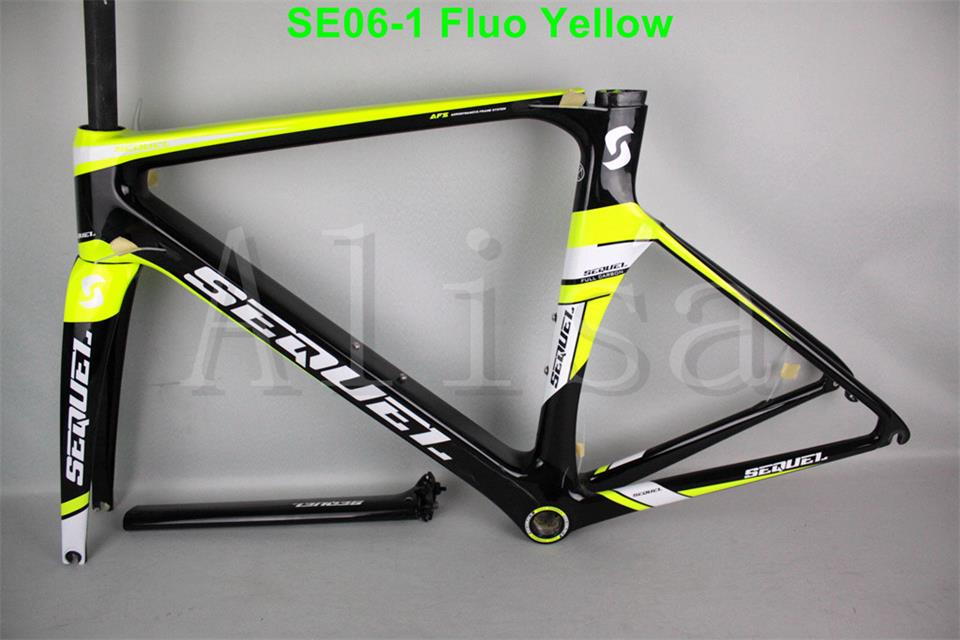 2016 Big sale carbon road bike frame SE06-1 Fluo Yellow,carbon frame road bicycle,many colors road frame free shipping(China (Mainland))