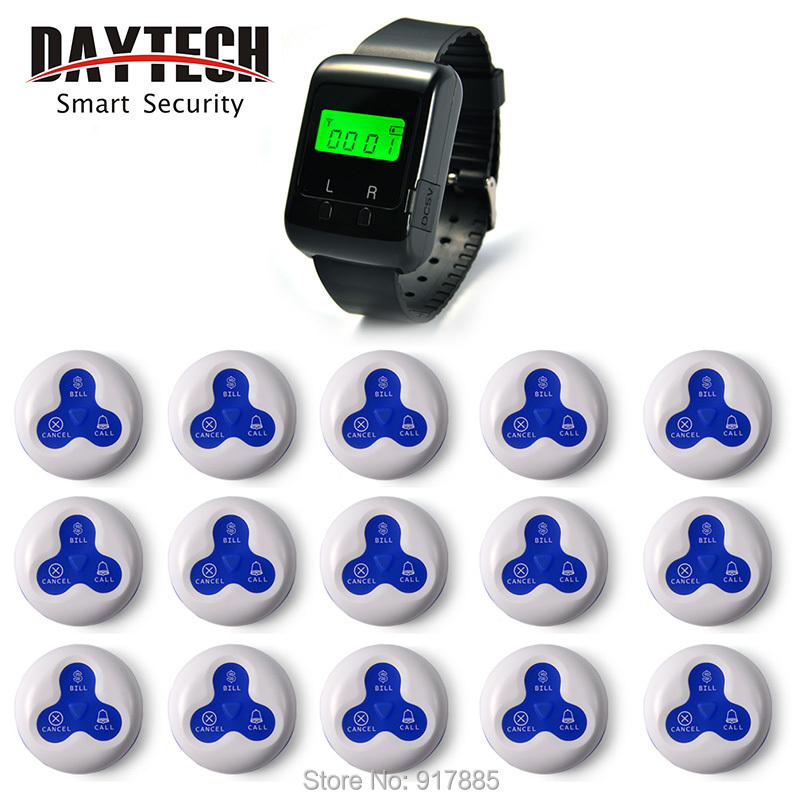 Wireless Calling System restaurant call button  Nursery calling System  Wifi Calling 1 pc Wrist Watch and 15 pcs call button