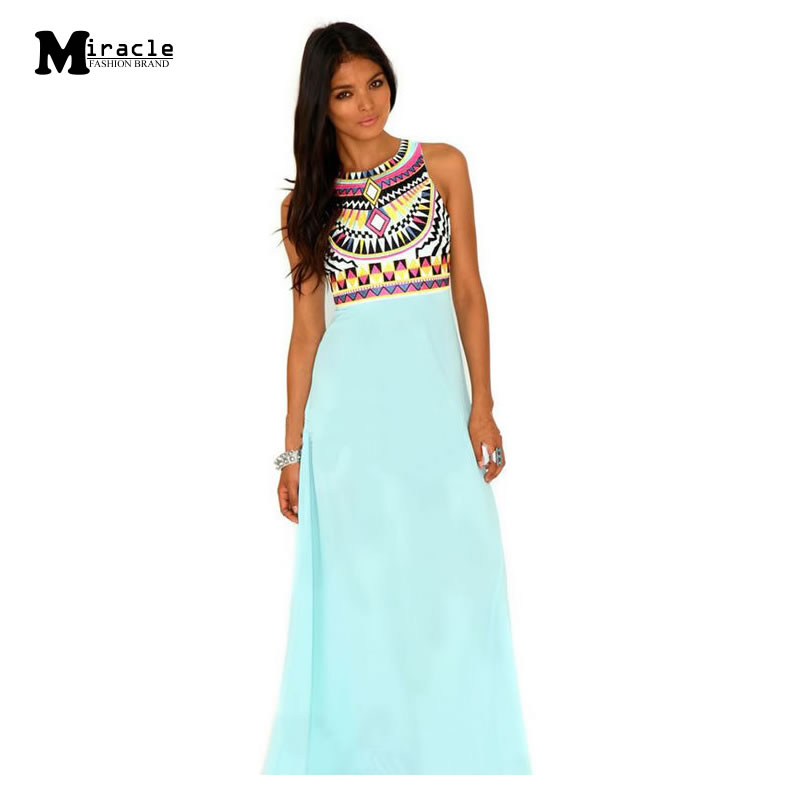 Women Beach Dress 2015 Summer Style New Fashion Casual Pleated Print Tank Floor Length Indian
