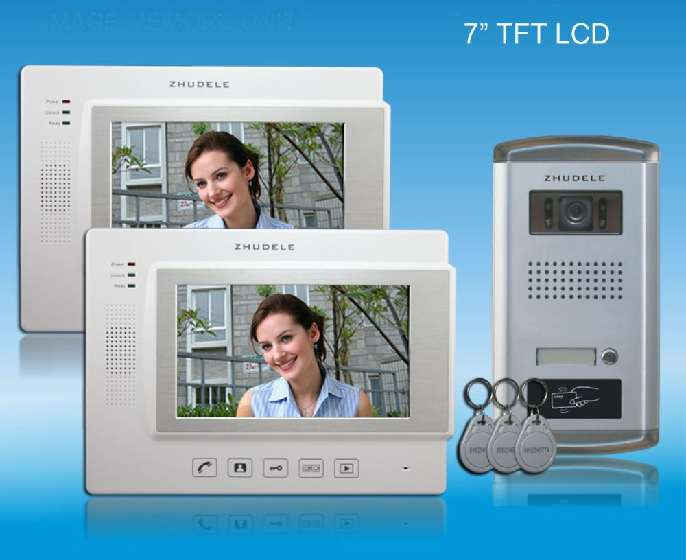 "INTERNATIONAL QUALITY - 7""color video door phone,CCD camera with ID card unlocked  ,touch screen with SD CARD(1 to 2)"