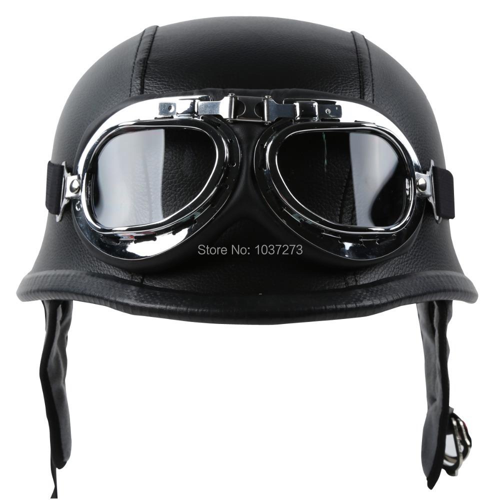 DOT Motorcycle German Style Black Leather Half Helmet w/Pilot Goggles New M/L/XL(China (Mainland))