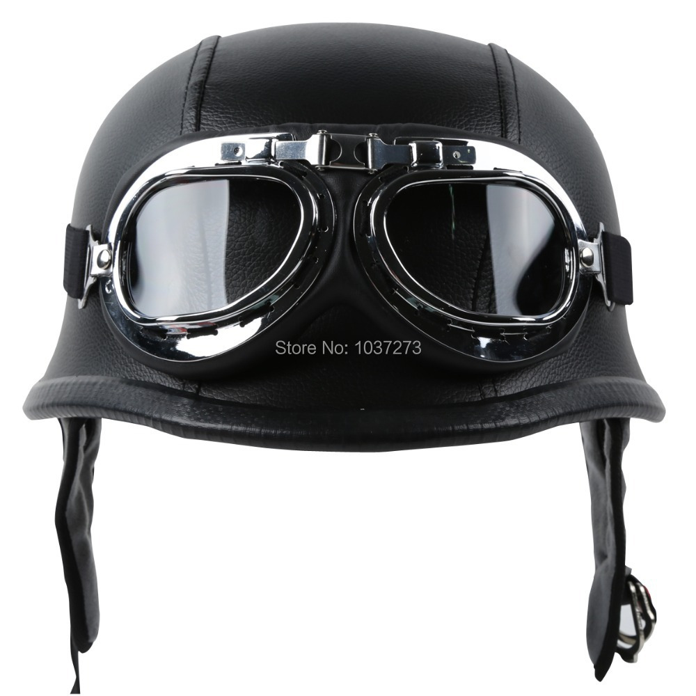DOT Motorcycle German Style Black Leather Half Helmet with Pilot Goggles New M / L / XL(China (Mainland))
