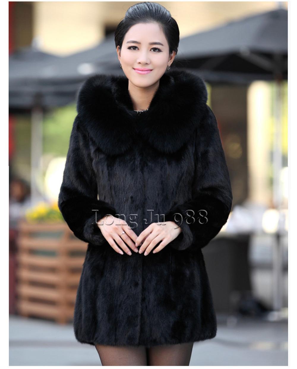2015 Luxury faux Rabbit fur coat Women winter Fashion Hooded FoxFur Collar Medium-long lady Overcoat Elegant - longju988 store