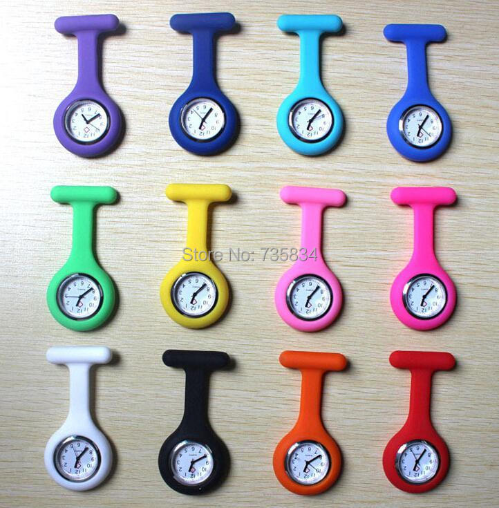 Wholesale 100pcs/lot Mix 12colors Nurse Fob Watch Silicone Chain Nurse Watch Doctor quzrtz watch NW018(China (Mainland))