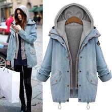 Winter Fashion Denim Coats Hoodie Jackets Women 2 Pieces Oversized Coat  Zipper Pocket Button Overcoat Hooded Outerwear M-4XL