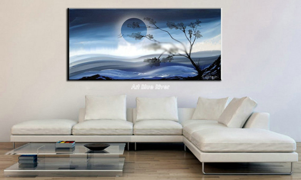 Abstract modern winter landscape moon large frameless pictures oil painting on canvas to Russia French Germany Ireland