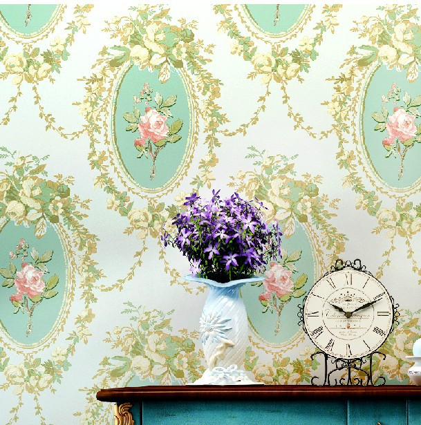 2014new country Garden flowers pink green wallpaper roll living bedding room mould proof wall paper - Beautiful landscape's store