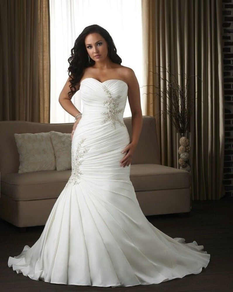 Elegant white ivory mermaid sweetheart organza bridal gown for White or ivory wedding dress