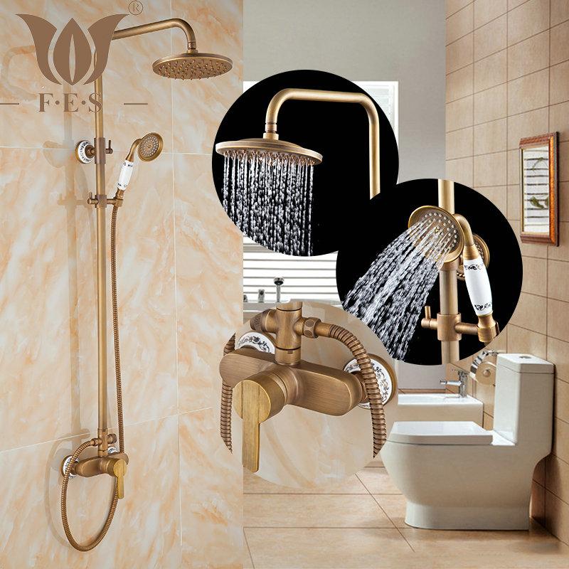 "8"" Bath & Shower Rainfall Faucets Set Antique Brass bathroom bath tub mixer tap faucet wall mount(China (Mainland))"