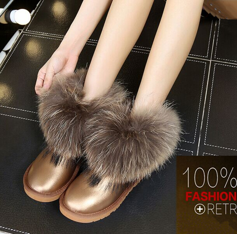 Фотография Winter Women Snow Boots Short Tube 100% Real Fox Raccoon Fur Genuine Leather Boot Round Flat Shoes Sweet Ankle Boots Waterproof