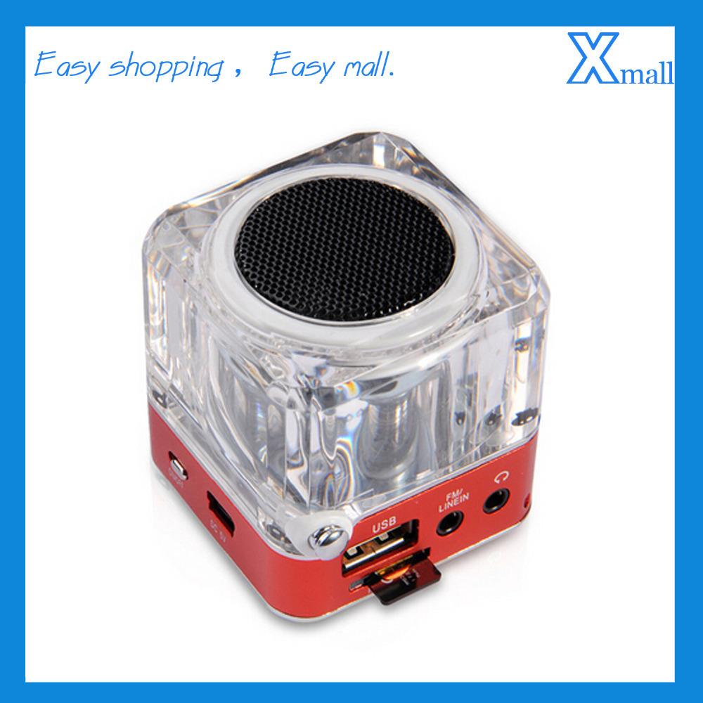TT-029 Crystal Acrylic LED Card Speakers Small Portable Stereo Bluetooth Speaker Wireless Mini Laptop Speaker Radio FM Speaker