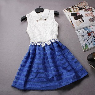 2013 women's organza lace chiffon one-piece dress fashion slim peter pan collar puff skirt