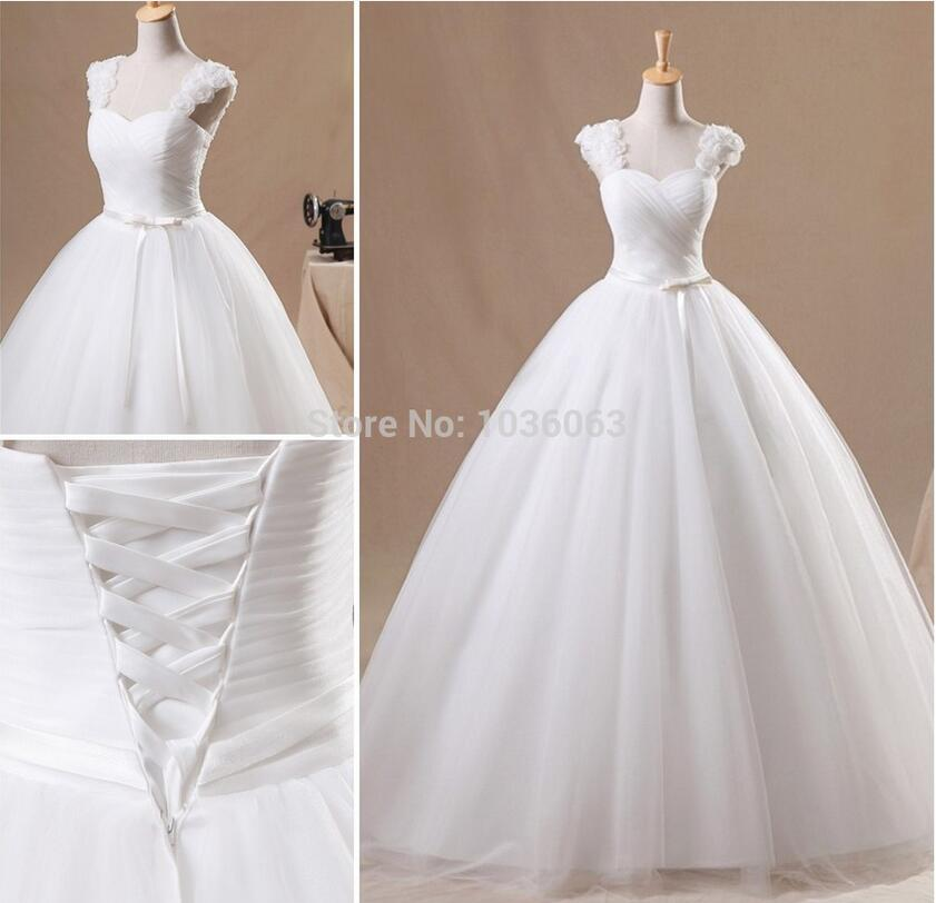 Cheap Princess Long White Ivory Simple Wedding Dress Bridal Gowns Sweep Train Tulle With Cape Sleeves Slim Belt(China (Mainland))