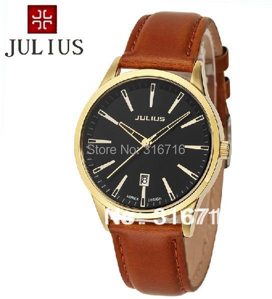 100% Authentic Hot Selling Famous Brand Watches,Korea JULIUS Quartz Mens Wristwatches,Round Calendar Quartz Leather Band JA-372<br><br>Aliexpress