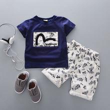 Conjuntos de ropa de verano de algodón de dibujos animados para bebé recién nacido Niño ropa de abrigo de moda traje de camiseta + traje de pantalón bebé de tela(China)