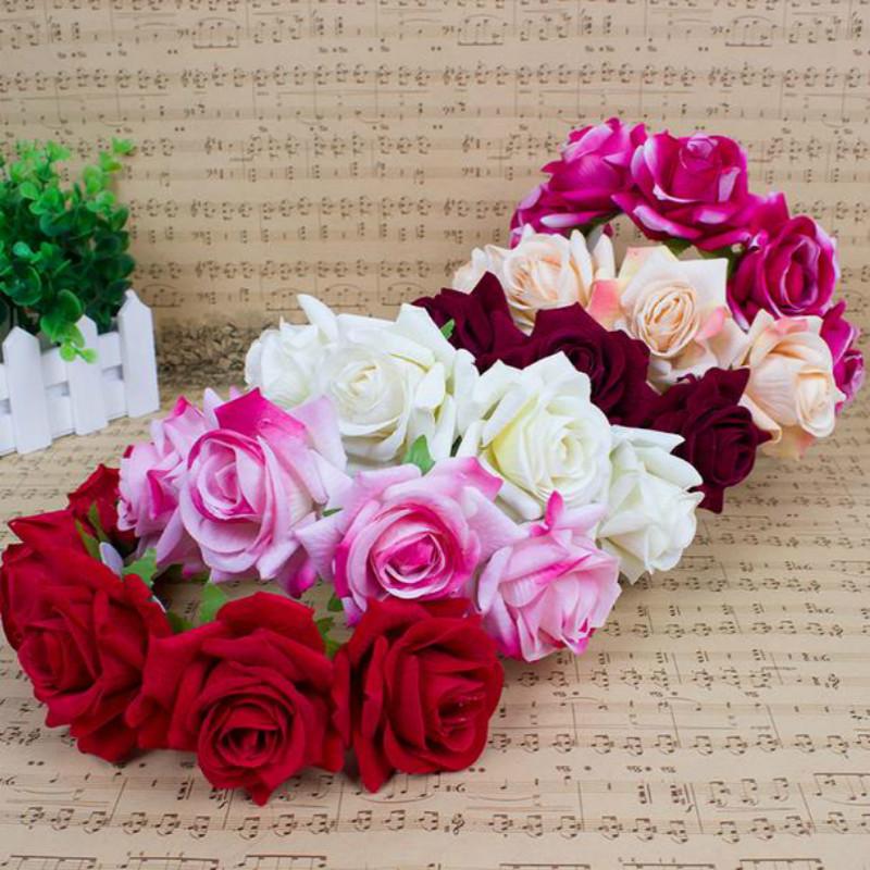 Good Quality Fashion Handmade Bride Floral Crown Rose Headband Flower Hair Garland(China (Mainland))