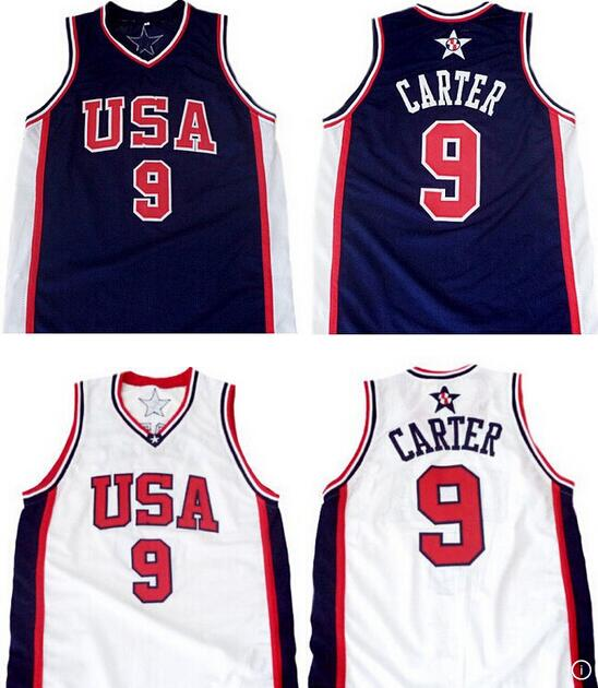 Champion Vince Carter #9 Team USA 2000 Olympic Throwback Basketball Jerseys,Retro Men's Customized Embroidery Stitched Jersey(China (Mainland))