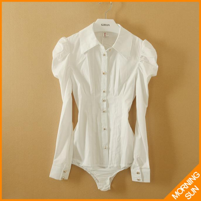 2014 korean style Slim OL career classic long-sleeved striped fold white color work wear women conjoined shirt #4025 - MORNING STAR's store