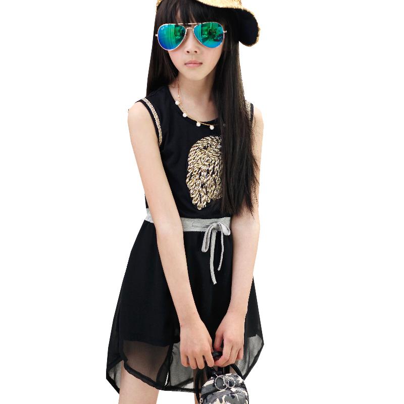 Owl Pattern Girls' Sleeveless Dress Summer Style Chiffon Sundress for Kids Girls Tank Dress for Teenage Girls AA1317(China (Mainland))