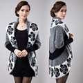 M 2XL free shipping 2015 New fall winter women knitted cardigan jacket sweater dress loose plus