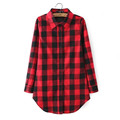 Hot Sale Women Blouses Long Shirts Single Breasted Plaid Cotton Shirt Wild Casual Streetwear Shirt Women