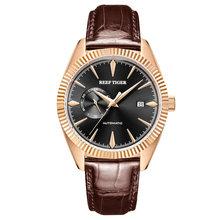 Recife Tigre/RT Top Vestido de Marca De Luxo Mens Relógio Automático Relógios Pulseira de Couro Genuíno Impermeável Relogio masculino RGA1616(China)