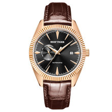 Reef tiger/rt marca superior de luxo dos homens relógio automático relógios vestido pulseira couro genuíno à prova dwaterproof água relogio masculino rga1616(China)
