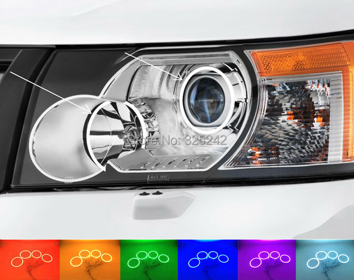 Фотография  For Land Rover Freelander LR2 2007 2008 Excellent Angel Eyes kit Multi-Color Ultrabright RGB LED Angel Eyes Halo Rings