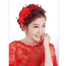 Pernikahan Rambut Aksesoris Mutiara Haedbands untuk Pengantin Merah Putih Renda Kristal Tiara Bunga Elegan Pengantin Rambut Perhiasan(China)