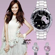 2016 Fashion Luxury Brand Hello kitty watch stainless steel women hellokitty watches Lovely Cartoon designer Quartz wristwatches