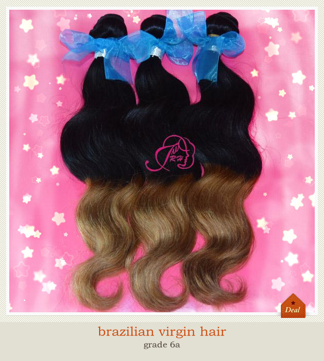 6A brazilian Virgin Hair Extension Human Weaves Body Wave Lina Products 2 two tone 1b /27# DHL - Xin hair products factory store