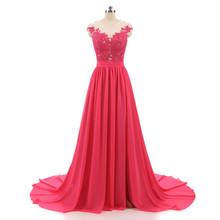 Barato 2018 Borgonha A Linha de Vestidos de Noite Longo Com Botões Sexy Ver Através Voltar Alta Dividir Renda Prom Vestido de Noite Vestidos(China)