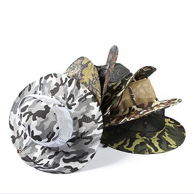 Outdoor Camouflage Mesh Bucket Hats Fishing Hiking Mountaineering Sunshade Cap Snap Brim Woodland Military Camo Sun Hat Cap