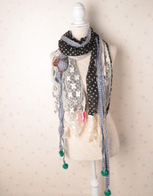 Woman fashion lace stitching cashmere wool winter long scarf scarves ball spots (random delivery)