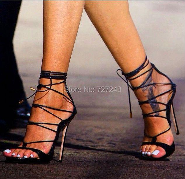White Gladiator Heeled Shoes